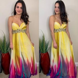 Morrell Maxie Yellow Strapless Beaded Gown
